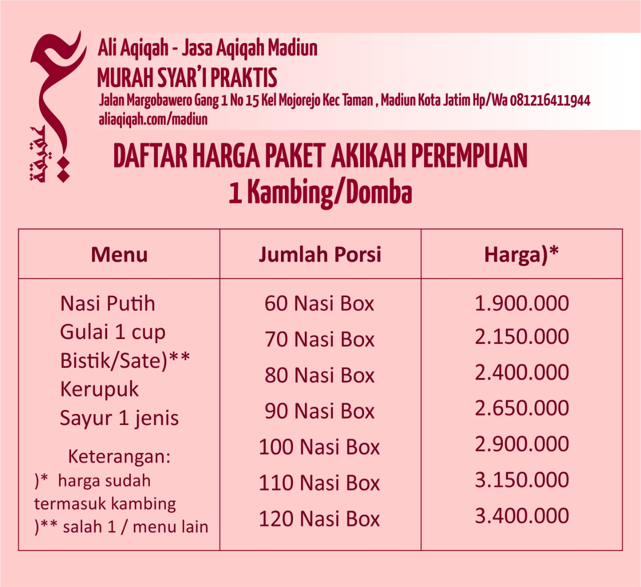 daftar harga paket aqiqah madiun untuk anak perempuan