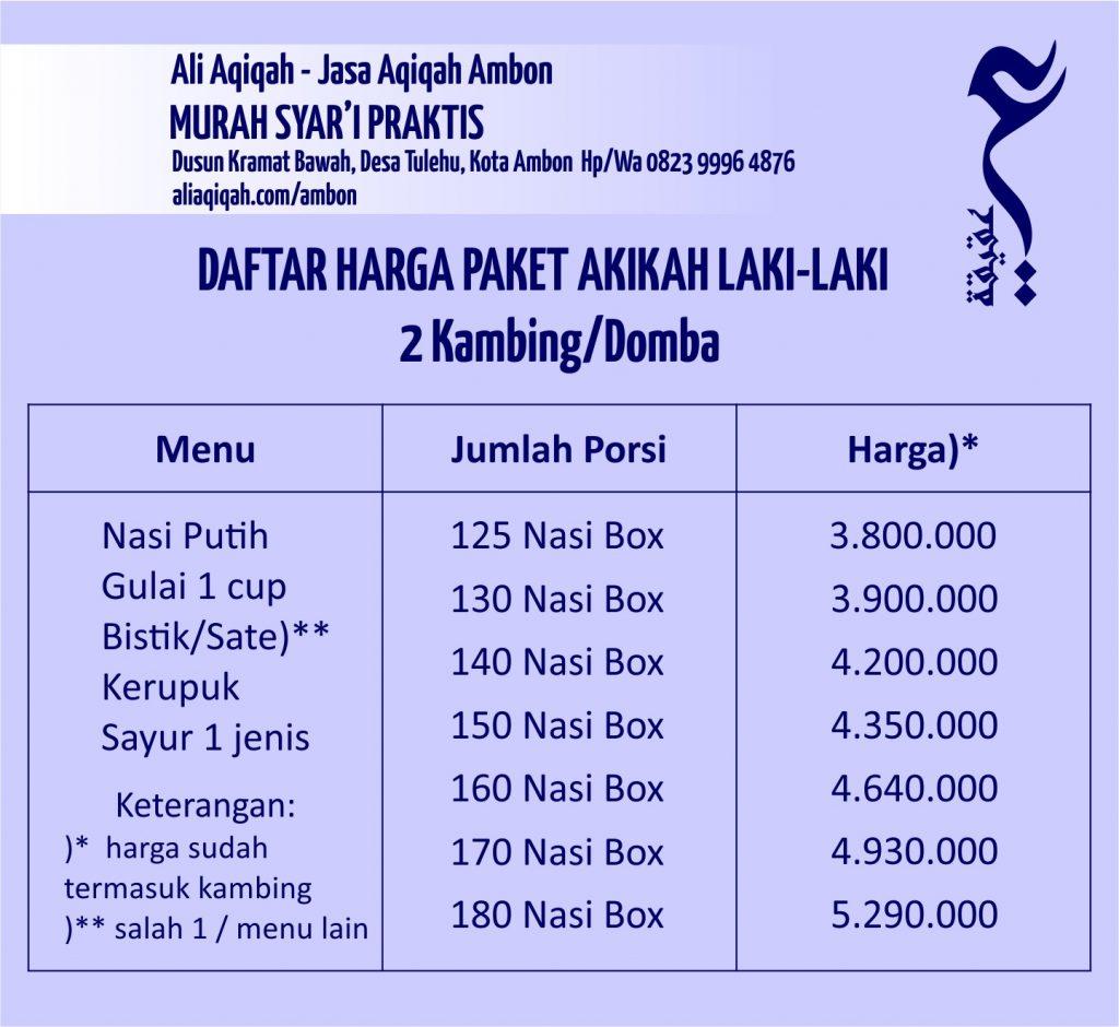daftar harga akikah laki-laki ambon