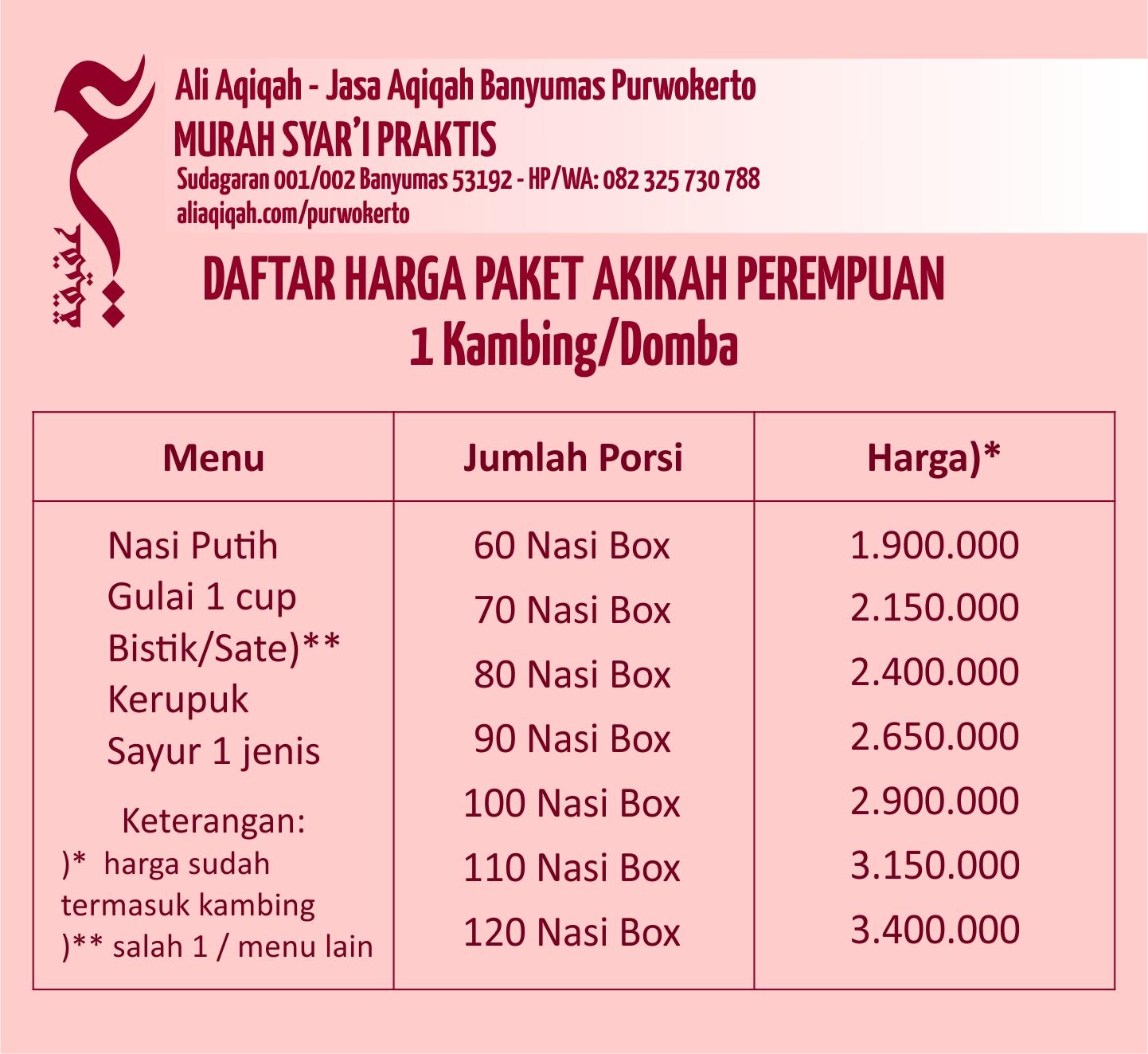 daftar harga paket akikah purwokerto untuk anak perempuan purwokerto