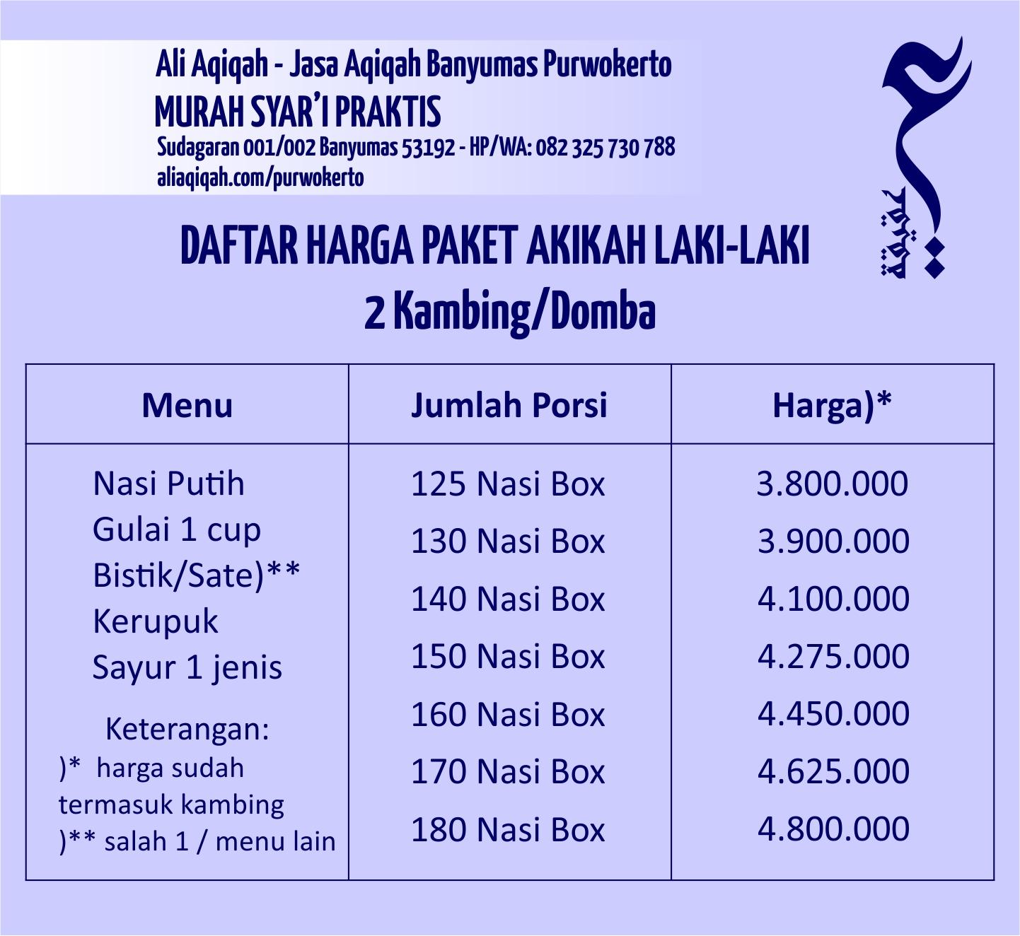 daftar harga akikah laki-laki purwokerto
