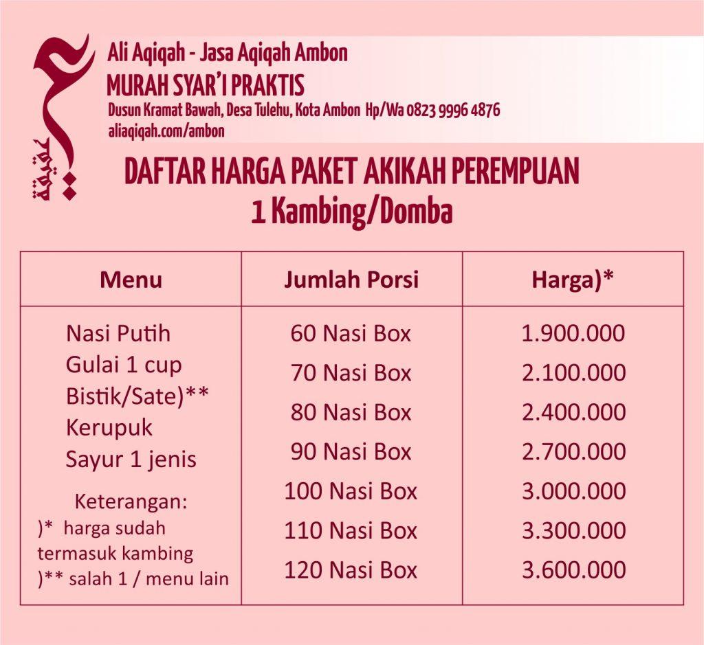 daftar harga akikah perempuan ambon